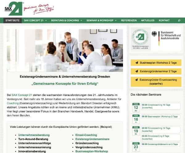 Homepage erstellt für Existenzgründer Coaching